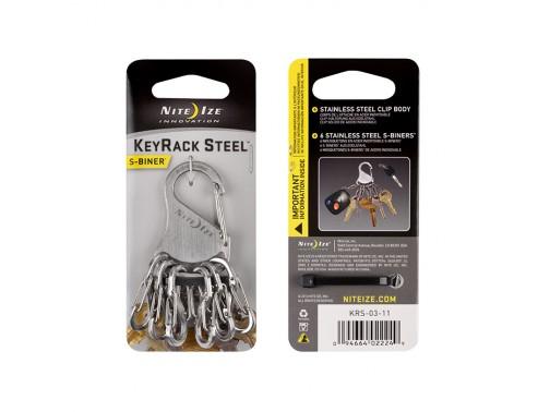 Ключная система Nite Ize S-Biner KeyRack (стальные карабины, серебристый)