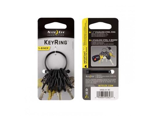 Карабин Nite Ize S-Biner KeyRing (стальные карабины, черный)